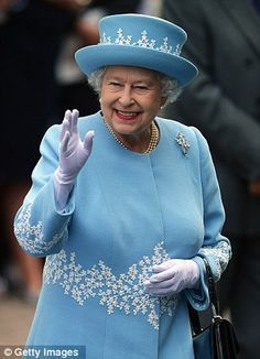 Queen Elizabeth in Northern Ireland. I love her hat and coat - they remind me of Wedgewood.