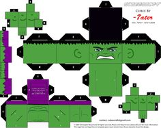 "This is the ""Hulk"" character from the Avengers movie. The Incredible Hulk Cubeecraft Hulk Party, Superhero Party, 3d Paper Crafts, Paper Toys, Imprimibles Toy Story Gratis, Phineas Und Ferb, Incredible Hulk, Paper Models, Printable Paper"