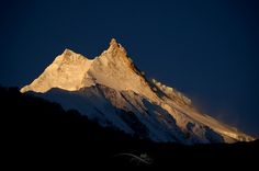 "~Golden Manaslu~ - Mt. Manaslu seen from Samagaun, Gorkha, Nepal Manaslu (8,156 metres), is the eighth highest mountain in the world, and is located in the Mansiri Himal, part of the Nepalese Himalayas, in the west-central part of Nepal. Its name, which means ""Mountain of the Spirit"", comes from the Sanskrit word Manasa, meaning ""intellect"" or ""soul"". Manaslu was first climbed on May 9, 1956 by Toshio Imanishi and Gyalzen Norbu, members of a Japanese expedition. It is said that ""just as the…"