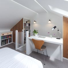 Blackheath house modern style bedroom by ape architecture & design ltd. Attic Bedroom Storage, Attic Bedroom Small, Attic Bedroom Designs, Attic Bedrooms, Shelves In Bedroom, Attic Spaces, Modern Bedroom Design, Bedroom Loft, Small Loft Spaces
