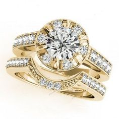 Lab Created D/VVS1 Diamond 14k Yellow Gold Plated Stunning Bridal Ring Set  #giftjewelry22