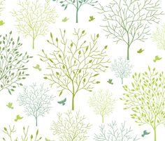 Birds In The Spring Garden fabric by oksancia on Spoonflower - custom fabric