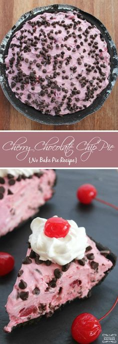 Cherry Chocolate Chip Pie (No Bake Recipe)!