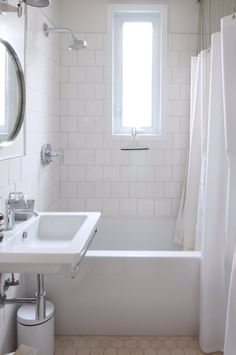 Montreal bathroom. Wall tiles from Home Depot, Catalano sink, Kohler fixtures, Ikea mirror.