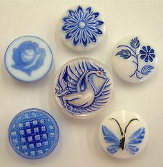6 Gorgeous Vintage Blue& White Painted Glass Buttons, Floral, Pictorial in Collectables | eBay
