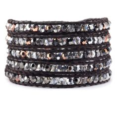 Chan Luu - Rose Gold Crystal Mix Wrap Bracelet on Natural Dark Brown Leather, $240.00 (http://www.chanluu.com/wrap-bracelets/rose-gold-crystal-mix-wrap-bracelet-on-natural-dark-brown-leather/)