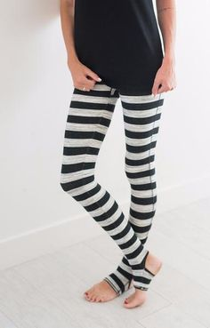 Striped heavy-knit activewear legging with Picot Performance open heels and rollover waist detailing. Printed with a soothing stripe pattern. Stretchy fit and extra soft for a comfortable workout. - 6