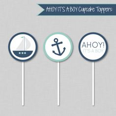 Nautical Cupcake Toppers Nautical Birthday by SocialInkDesigns