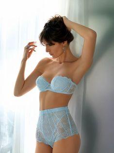Baby Blue #Lingerie - Lace Strapless #Bra & High Waist Brief #Panties