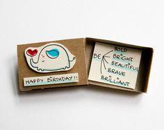 Schattig olifant verjaardagskaart Matchbox / kleine kleine