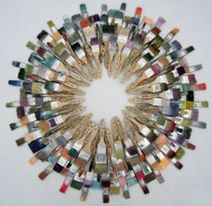 Wreath made out of repurposed paintbrushes. Trash to treasure
