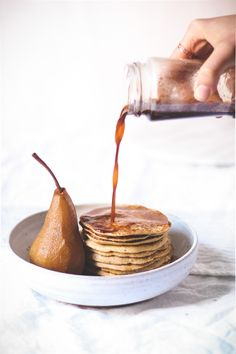 Throw-everything-in-the-blender Sprouted Barley Pancakes with Chai-Poached Pears    to her core