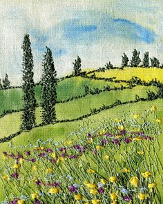 embroidered landscape greeting card by WhenArtMetCloth on Etsy, £2.50