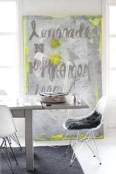 dining + working at the table + gray and neon yellow Interior Inspiration, Room Inspiration, Colour Inspiration, Interior Architecture, Interior And Exterior, Interior Decorating, Interior Design, Interior Styling, Simple House