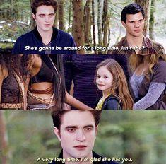 Twilight Movie Scenes, Twilight Jokes, Twilight Saga Quotes, Twilight Wolf, Twilight Saga Series, Twilight Bella And Edward, Twilight Renesmee, Edward Bella, Robert Pattinson Twilight