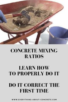 When making concrete it's important to use the correct concrete mixing ratios to produce a strong, durable concrete mix. To make concrete there are four basic materials you need: portland cement, sand, aggregate (stone), and water. Concrete Mix Ratio, Water Cement Ratio, Concrete Stone, Concrete Building, Concrete Cement, Concrete Crafts, Concrete Projects, Cement Pots, Outdoor Projects