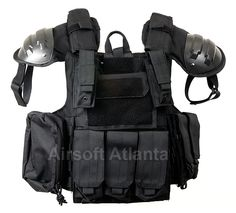 The Metro SWAT vest is a new level of tactical look for airsoft players.  Black nylon materials, quality stitching, and tons of pouches and accessories.  Includes black hard plastic shoulder pads and Quick Release function.