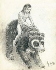 Niño y oso, boceto inspirado en El libro de la selva de Rudyard Kipling.