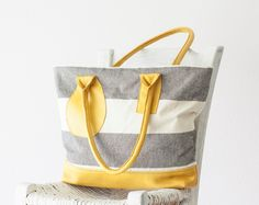 Tote bag stripe, shoulder purse in cotton canvas and Yellow leather  - Kallisto bag by milloo on Etsy https://www.etsy.com/listing/92945195/tote-bag-stripe-shoulder-purse-in-cotton