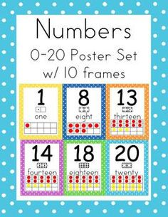 Polka Dot Numbers 0-20 Poster Set with Ten Frames