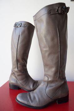 Bottes Boots HEYRAUD CAvalieres CUIR LEATHER T 39 gris argenté zip elastiquées