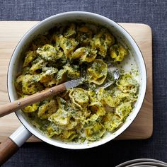 Cheese Tortellini with Walnut Pesto | Here's one of the quickest pesto sauces you'll come across. It's a perfect match for cheese tortellini, but you can use other tortellini such as mushroom or meat instead. The pesto is also great with just about any plain pasta.