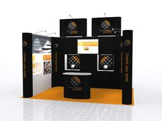 This design for a Shell Scheme Booth shows how easy it is to transform the empty Shell Scheme space into an impressive Exhibition Stand (the Shell Scheme nameboard facias have been removed for this design). This design features integrated showcases for interactive iPad display, as well as High Level Branding to helps it stand out against it's competitors, while the corporate colour scheme keeps it looking professional.