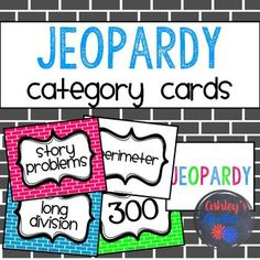 This printable Jeopardy Category Cards set contains color and black and white category cards, point cards, as well as blank cards to create your own category. This game has been a fun way to practice before a test. The kids absolutely love it! Categories included: -vocab -sequence -misc. -theme -story problems -picture problems -which one? -equations -decimals -addition -fractions -subtraction -multiplication -fractions -division -estimation -long division -math facts -telling time -missing…