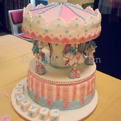 "The Little Cake Tin | 12"" carousel cake for a girl's 1st birthday party"