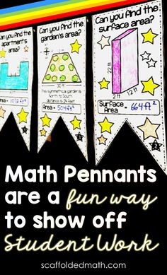 In this post, I want to show you some of the math pennants I've made over the years for topics covered in early elementary school right through to high school math. To date, I've made over 100 math pennants, so they are not all in this post. But I picked out some of my favorites to show you. More at scaffoldedmath.com High School Students, Student Work, Vocabulary Wall, Math Bulletin Boards, Math Classroom Decorations, Classroom Posters, Anchor Charts, Teaching Math, Elementary Schools