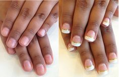of nails using Free Edge Gel. French manicure with gold striping tape