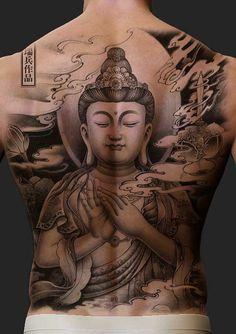 Pin by saul prado on oriental tattoo buddha tattoo design, b Japanese Tattoo Meanings, Japanese Tattoos For Men, Japanese Tattoo Designs, Back Tattoos For Guys, Full Back Tattoos, Back Tattoo Men, Tattoo Japonais, Buda Tattoo, Buddha Tattoo Design