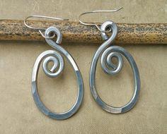 Spiraling Oval Aluminum Earrings  Light by nicholasandfelice