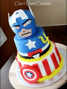 Captain America Birthday Cake Covered in MMF, Decorations are also MMF. Captain American head is carved cake. Captain America Birthday Cake, Captain America Party, Anniversaire Captain America, Biscuit, Little Mermaid Cakes, Superhero Cake, Cakes For Boys, Boy Cakes, Cake Cover