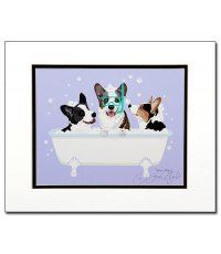 Spa Day Cardigan Corgis Matted Graphic Art Print