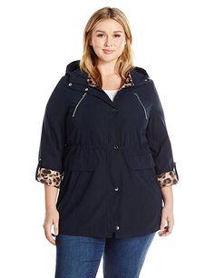 Lark & Ro Women's Size Utility Jacket Plus, Micronavy