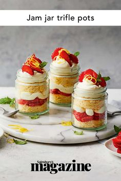 Individual desserts are great for picnics or transporting to barbecues, and our cute strawberry jam jar trifle pots are perfect with a glass of bubbles. Get the Sainsbury's magazine recipe Sizzling Recipe, Dessert Pots, Magazine Recipe, Cake In A Jar, Individual Desserts, Trifle Recipe, Jam Jar, Barbecues, Sweetest Thing