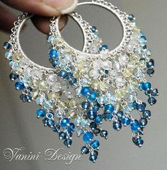 Ibiza - Fine/Sterling Silver,Rock Crystal,Lemon Quartz,Sky blue topaz,mystic topaz and quartz cascades hoop earrings by VaniniDesign, via Flickr