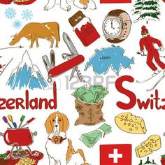 Fun colorful sketch Switzerland seamless pattern photo