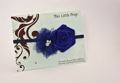 Baby/Girls Heaband - Double Flower - Royal Blue