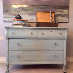 Provincial Blue Antique Dresser with Glass Knobs by BeautybyIngala, $725.00