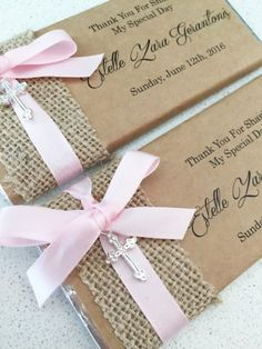 Rustic Paper Ribbon Cross Charm Personalised Chocolates