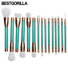 sale bestgorilla 15pcset green makeup brushes set cosmetic foundation eyshadow blusher powder blending #green #powder