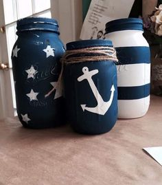 Hand painted mason jars. Nautical style. Painted with chalk paint and waxed to prevent chipping. Hand distressed as well for a more rustic look. All items are made to order and can be done in any style or color
