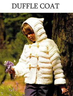"Knitting Pattern - Boys  Girls / Child's 70s ""DUFFLE"" Coat - PDF Pattern - UK"