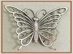 Vintage Lacy Sterling Silver Butterfly Pin from Beau by COBAYLEY