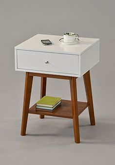 """White / Dark Oak Side End Table Nighstand with Drawer and Shelf 24""""H - Mid-Century Style"""