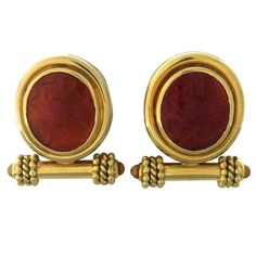 Elizabeth Locke Intaglio Gold Earrings | From a unique collection of vintage more earrings at http://www.1stdibs.com/jewelry/earrings/more-earrings/