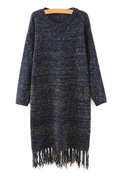 Tassels Spliced Round Collar Loose Fitting Sweater Dress