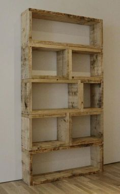 This is a great way to use old pallet boards! Create a pallet bookshelf!